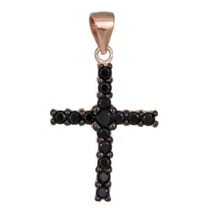 Σταυρός με μαύρα ζιργκόν από ροζ επιχρυσωμένο ασήμι 925 036293 036293 Ασήμι
