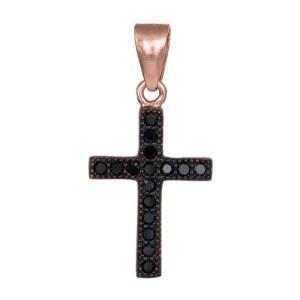 Ροζ gold επίχρυσος σταυρός με μαύρα ζιργκόν 925 036294 036294 Ασήμι