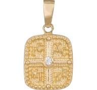 Φυλαχτό διπλής όψης Κ14 με λευκό ζιργκόν 036360 036360 Χρυσός 14 Καράτια