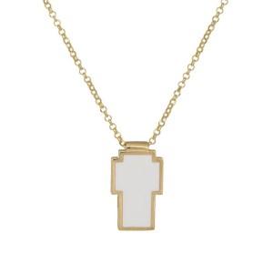Γυναικείο επίχρυσο κολιέ 925 σταυρός με λευκό σμάλτο 036427 036427 Ασήμι