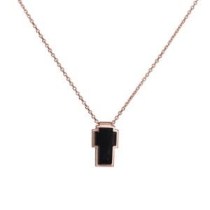 Επίχρυσο ροζ κολιέ 925 σταυρός με μαύρο σμάλτο 036428 036428 Ασήμι