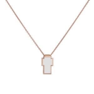 Ροζ επίχρυσο κολιέ με σταυρουδάκι 925 036430 036430 Ασήμι