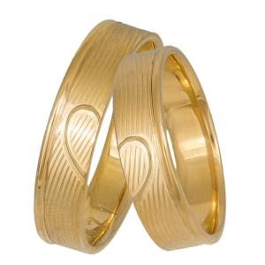 Χρυσές βέρες ανάγλυφες Κ14 Heart 037326 037326 Χρυσός 14 Καράτια μεμονωμένο τεμάχιο