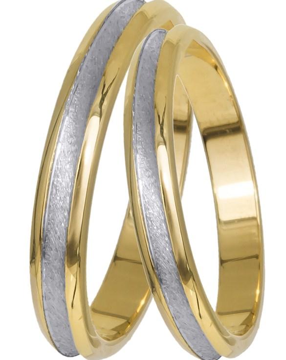 Δίχρωμες βέρες γάμου Κ9 021616 021616 Χρυσός 9 Καράτια