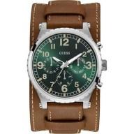 Ρολόι Guess αντρικό με καφέ δερμάτινο λουράκι W1162G1 W1162G1 Ατσάλι