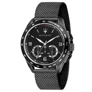 Μαύρο ρολόι Maserati Traguardo Quartz Chronograph R8873612031 R8873612031 Ατσάλι