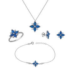 Σετ γάμου λευκόχρυσο Κ14 Blue Marquis SET036477 SET036477 Χρυσός 14 Καράτια