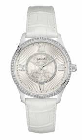 GUESS ρολόι Crystals με λευκό λουράκι W0768L4 W0768L4 Ατσάλι