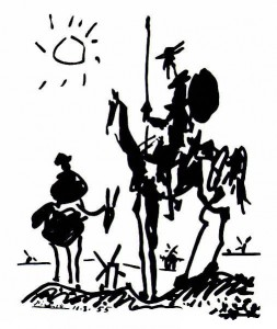 Ο Δον Κιχώτης κι ο Σάντσο, ψηλά πάνω απ' τους ανεμόμυλους (Πάμπλο Πικάσο, 1955)