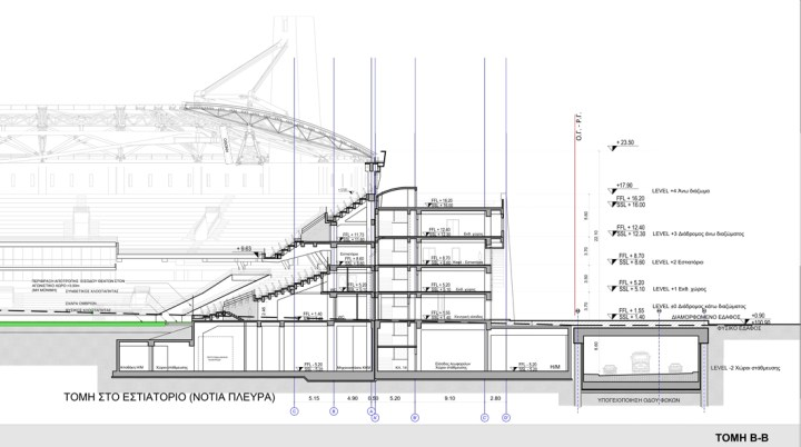 """Τομή του τετραόροφου κτιρίου και της υπογειοποίησης της """"Αγιά Σοφιάς"""""""