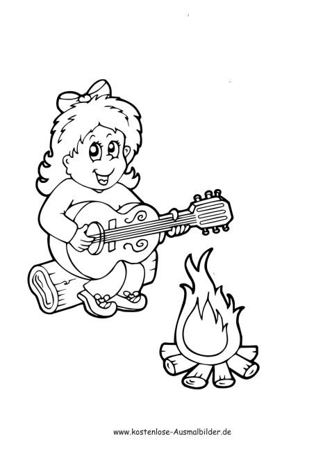 Maedchen singt am Feuer  Camping ausmalen  Malvorlagen