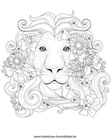 Loewe mit Blumen - Erwachsene ausmalen Malvorlagen Tiere