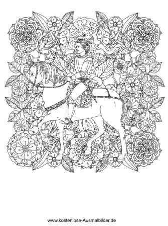 Reiter In Blumen Erwachsene Ausmalen Malvorlagen Tiere
