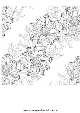 Blumen diagonal - Erwachsene ausmalen Malvorlagen Vorlagen
