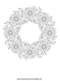 Blumenkranz - Erwachsene ausmalen   Malvorlagen Vorlagen