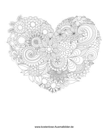 Herz aus Blumen - Erwachsene ausmalen Malvorlagen Vorlagen