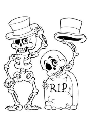 Ausmalbilder Skelett - Halloween zum ausmalen