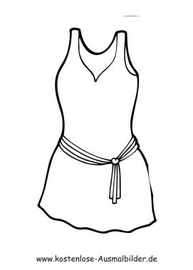 Ausmalbilder Kleid mit Gürtel - Kleidung zum ausmalen