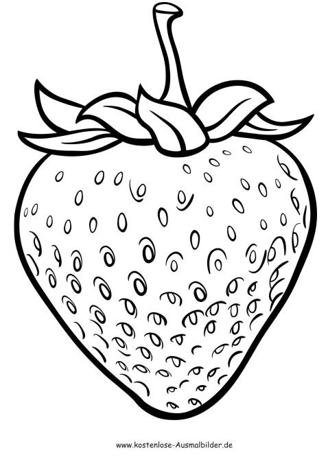 Ausmalbilder Erdbeere - Lebensmittel zum ausmalen