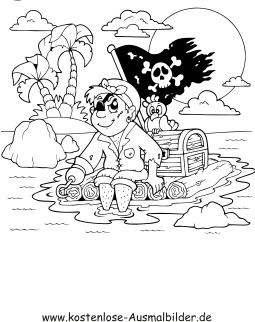 Ausmalbilder Pirat Auf Floss Piraten Zum Ausmalen