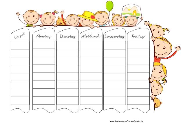 Stundenplan Kinder Schule Ausmalen Malvorlagen Stundenplan