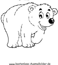 Ausmalbilder Eisbär 1 - Tiere zum ausmalen Malvorlagen