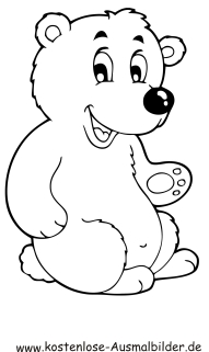 Ausmalbild kleiner Eisbär zum Ausdrucken
