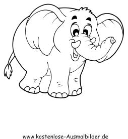 Ausmalbilder Elefant 1 - Tiere zum ausmalen Malvorlagen