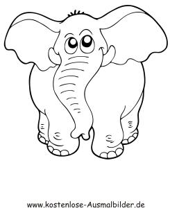 Ausmalbilder Elefant 2 - Tiere zum ausmalen Malvorlagen
