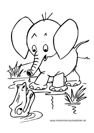 Kostenlose Ausmalbilder Malvorlagen Elefant Am Fluss