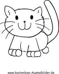 Ausmalbilder einfache Katze 1 - Tiere zum ausmalen