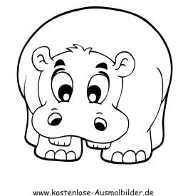 Ausmalbilder Nilpferd - Tiere zum ausmalen Malvorlagen