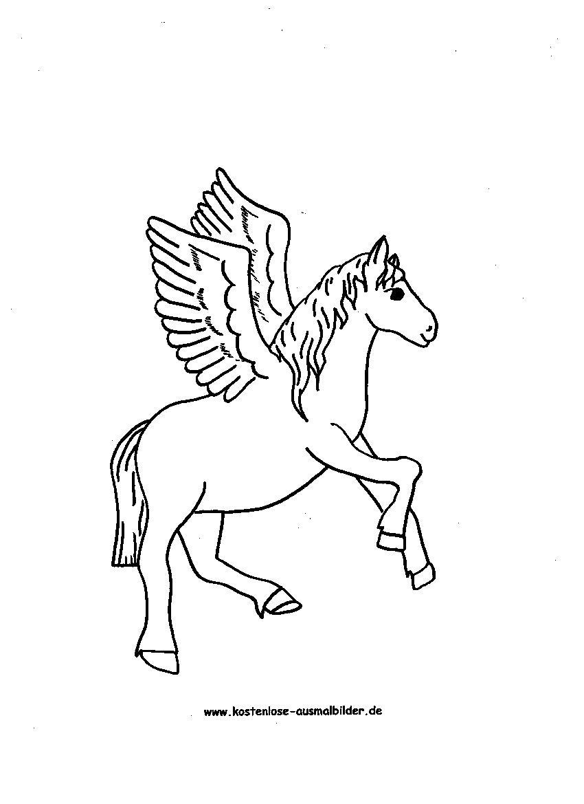 Ausmalbilder Pegasus Pferd - Tiere zum ausmalen