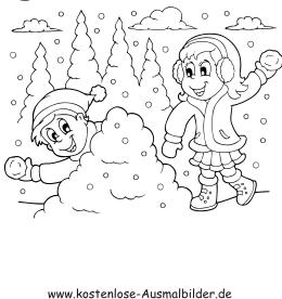 Ausmalbilder Winterlandschaft - Winter zum ausmalen