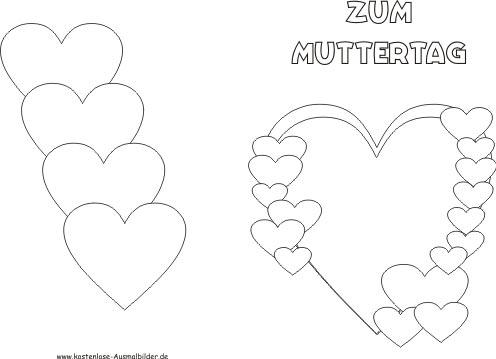 Malvorlagen - Ausmalbilder Muttertag Karten Ausmalbilder