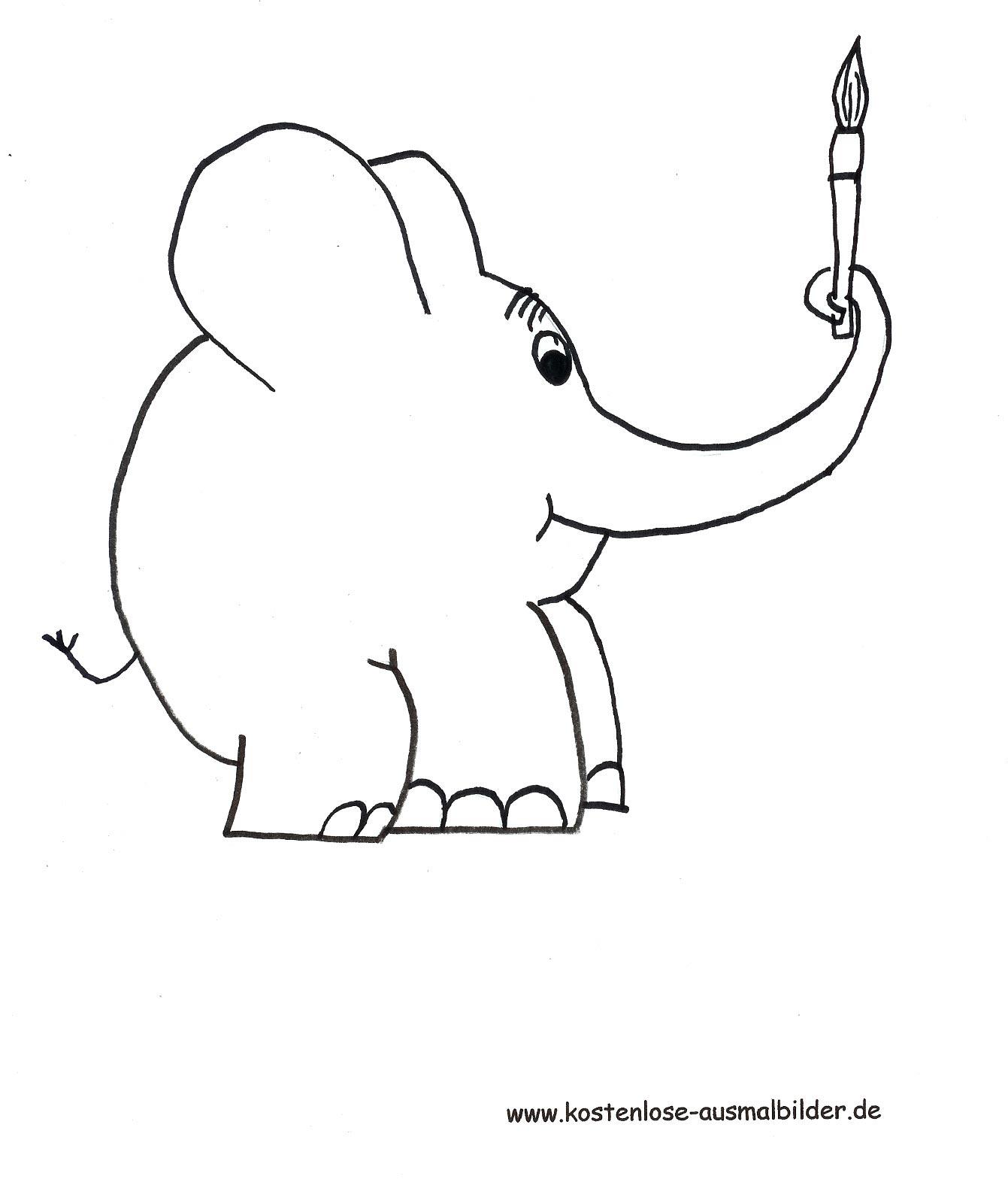 Gratis Malvorlagen Elefant