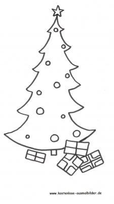 Malvorlagen - Ausmalbilder Weihnachtsbaum mit Geschenken