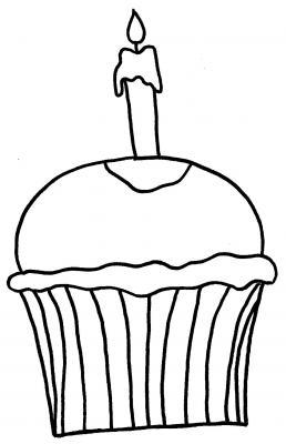 Malvorlagen - Ausmalbilder Geburtstagsmuffin