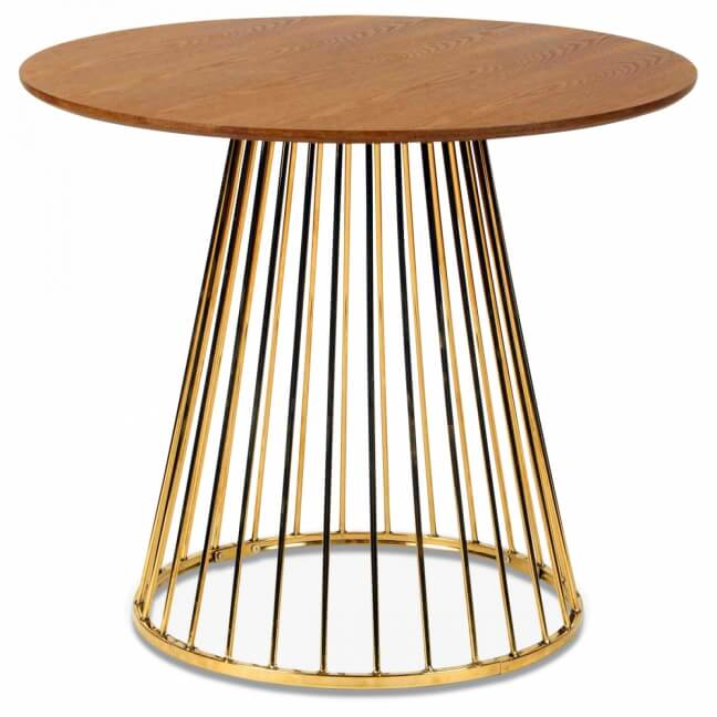 table walnut gold et pied en metal chrome d 110xh 75cm kotecaz fr