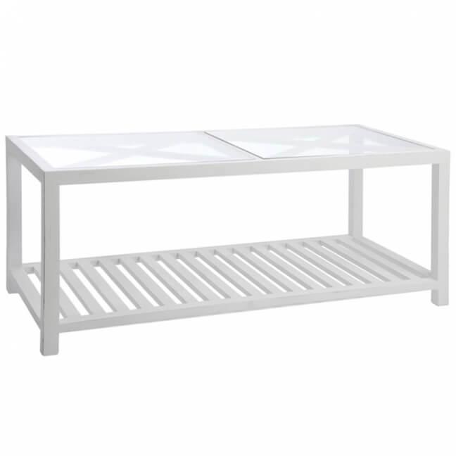 table basse rectangulaire bois blanc 110 50 cm kotecaz