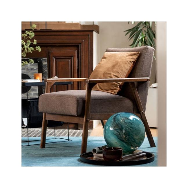 fauteuil scandinave tissu marron kotecaz fr