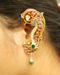 Cabocchon Rubies Ear Covering 22kt Gold