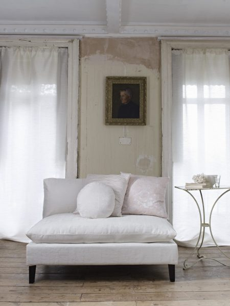 White Textured Upholstery on Contemporary Sofa