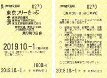 東京フリーきっぷ券面の写真