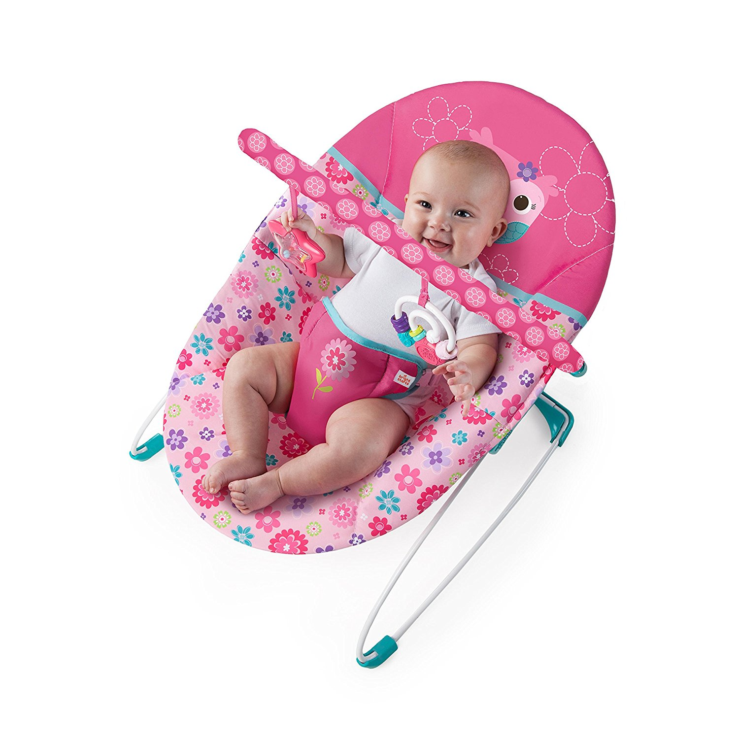 bright starts high chair pink desk with arms baby bouncer vibrating happy flowers
