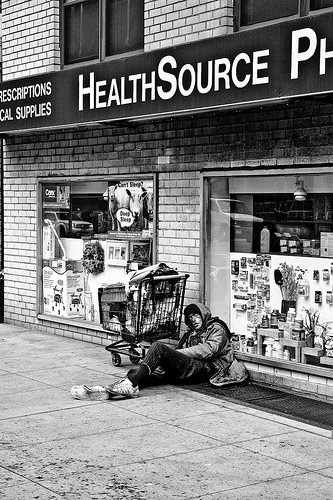 black and white poverty photo