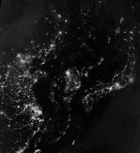 earth from space black and white photo