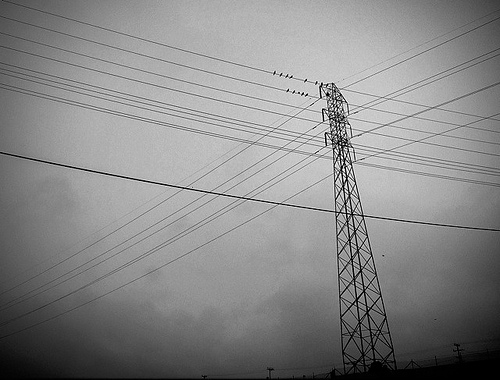black and white pylons photo