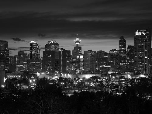 black and white city sunset photo