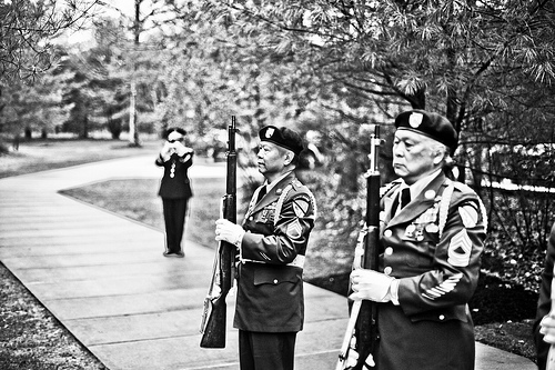 military funeral black and white photo